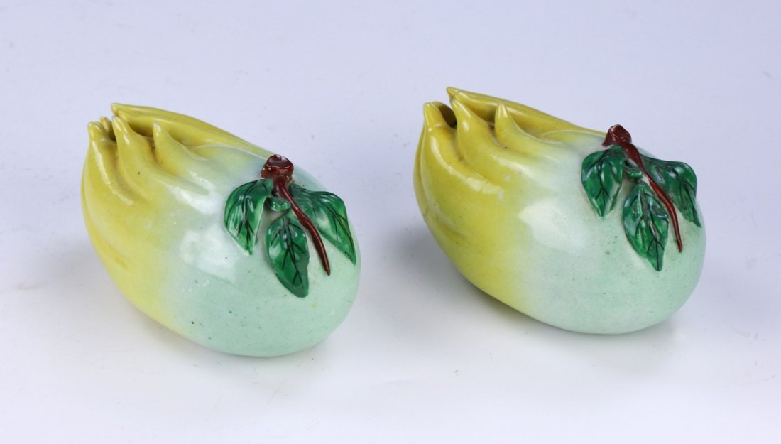 PAIR CHINESE FAMILLE ROSE PORCELAIN CITRONS - 2