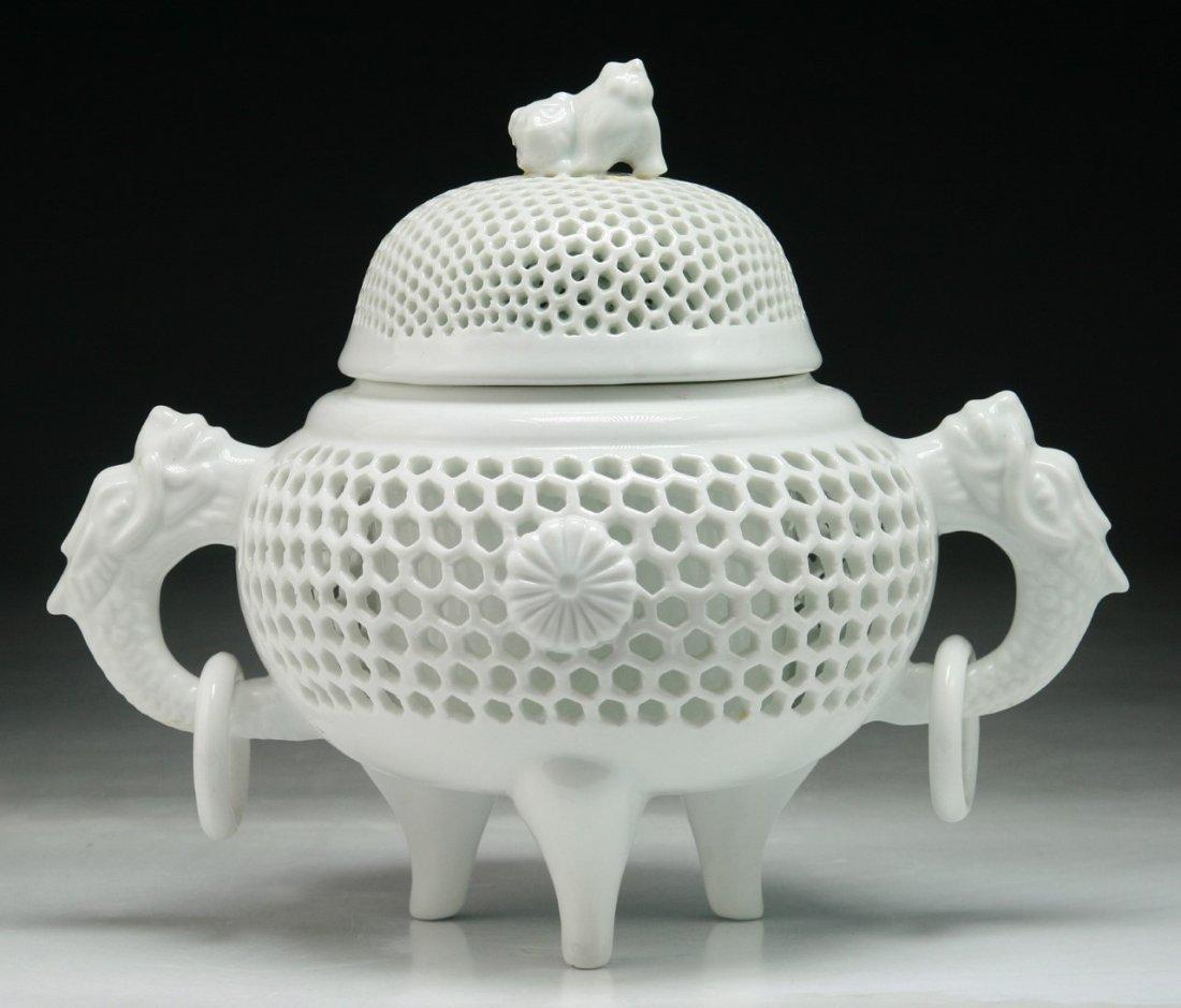 A JAPANESE ANTIQUE HIRADO WHITE GLAZED PORCELAIN CENSER