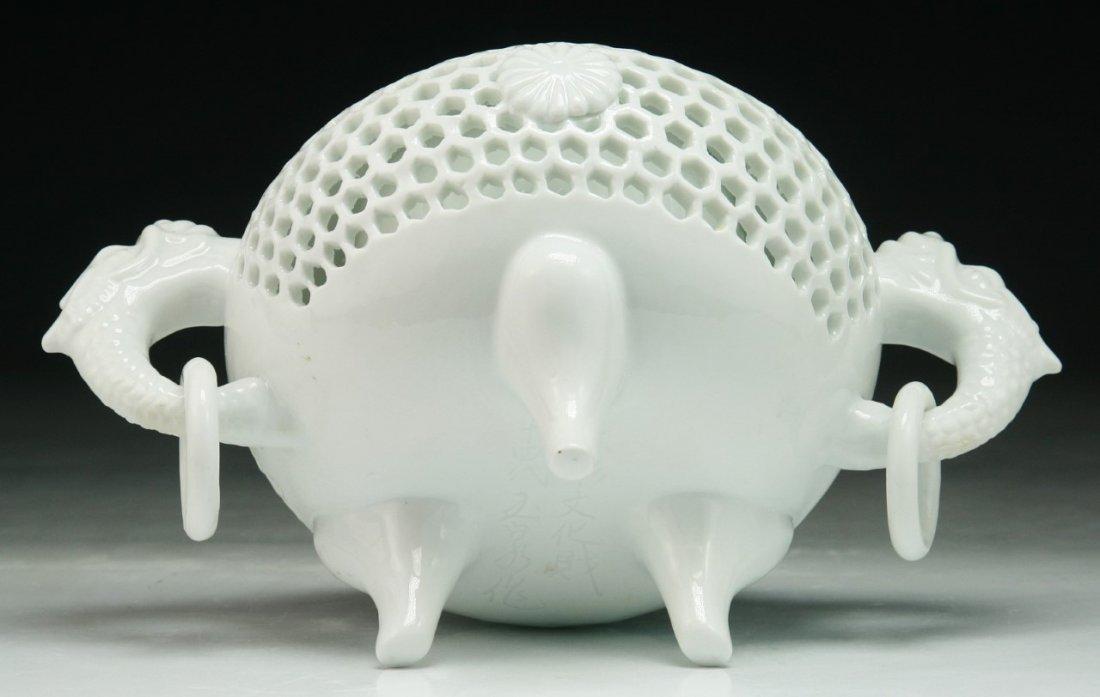 A JAPANESE ANTIQUE HIRADO WHITE GLAZED PORCELAIN CENSER - 4