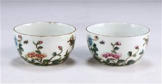 PAIR CHINESE ANTIQUE GILT FAMILLE ROSE PORCELAIN CUPS