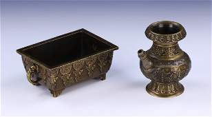 TWO 2 CHINESE ANTIQUE MIXED BRONZE ITEMS