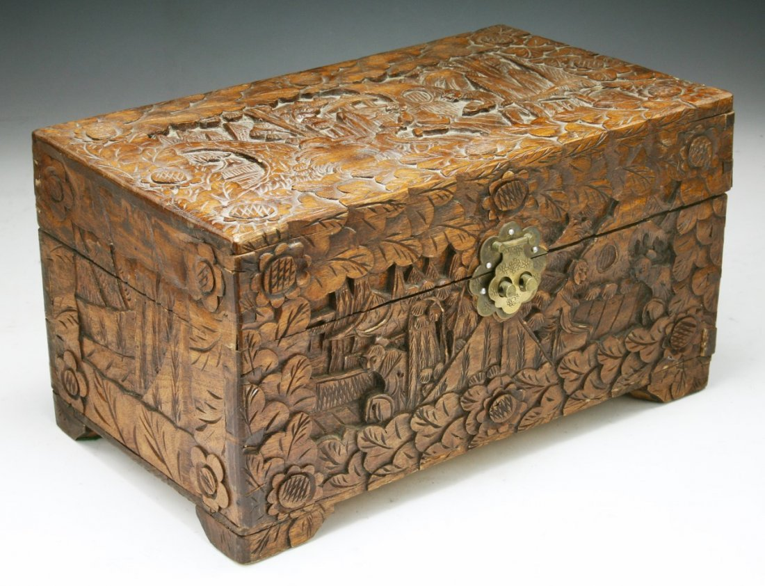 A CHINESE CAMPHOR WOOD BOX WITH COVER