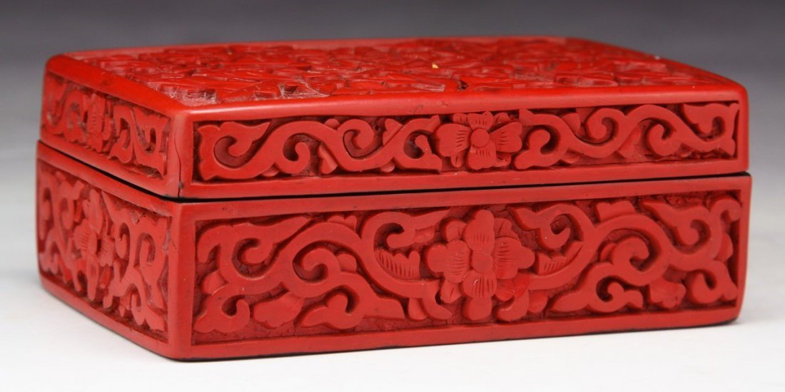 A Chinese Antique Red Cinnabar Lacquer Lidded Box