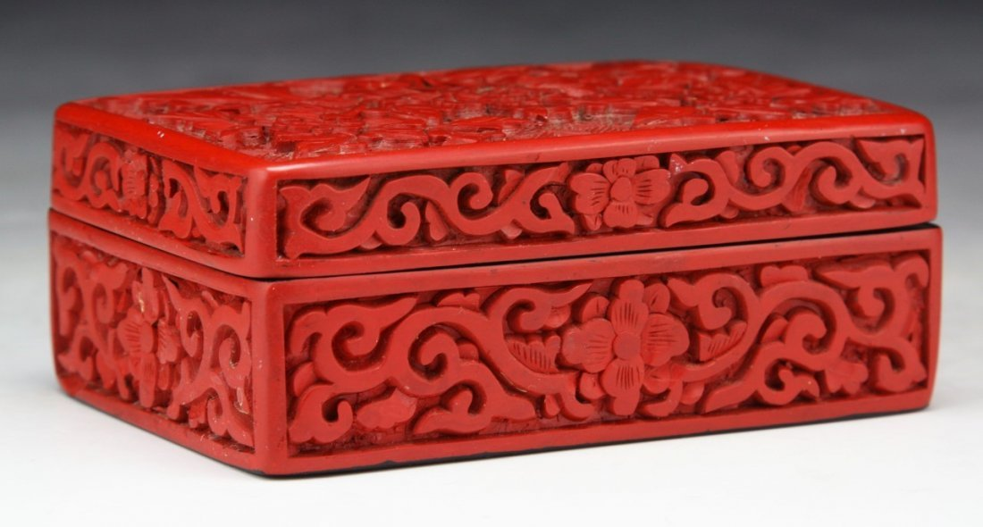 A Chinese Antique Red Cinnabar Lacquer Lidded Box - 2