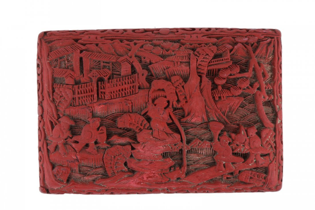 A CHINESE RED CINNABAR LACQUER LIDDED CASE - 2