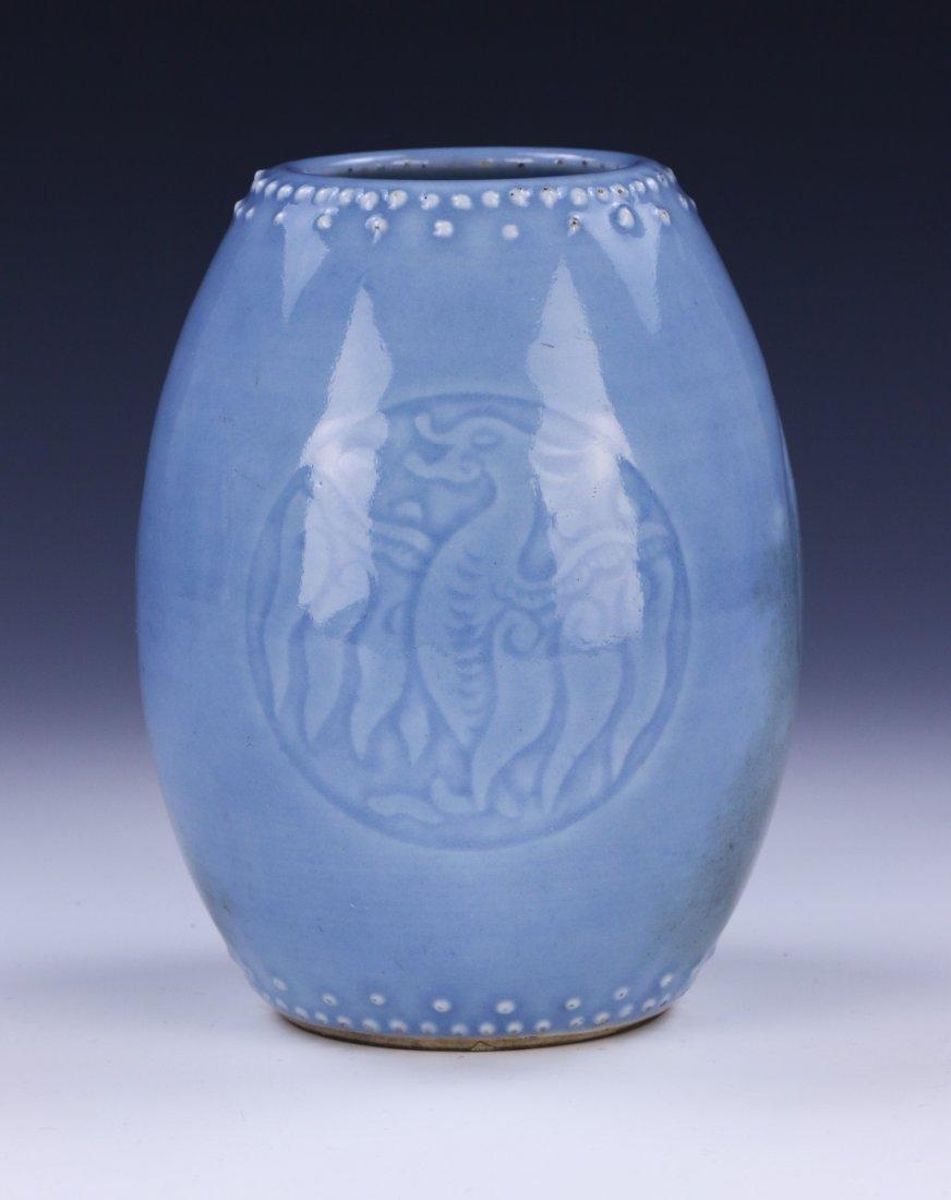 A CHINESE ANTIQUE BLUE GLAZED PORCELAIN VASE - 3