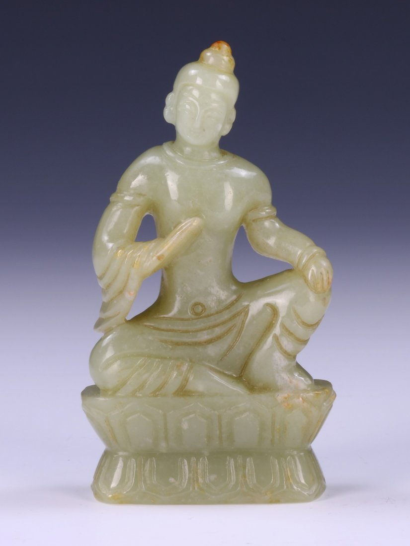 A CHINESE JADE CARVED BUDDHA