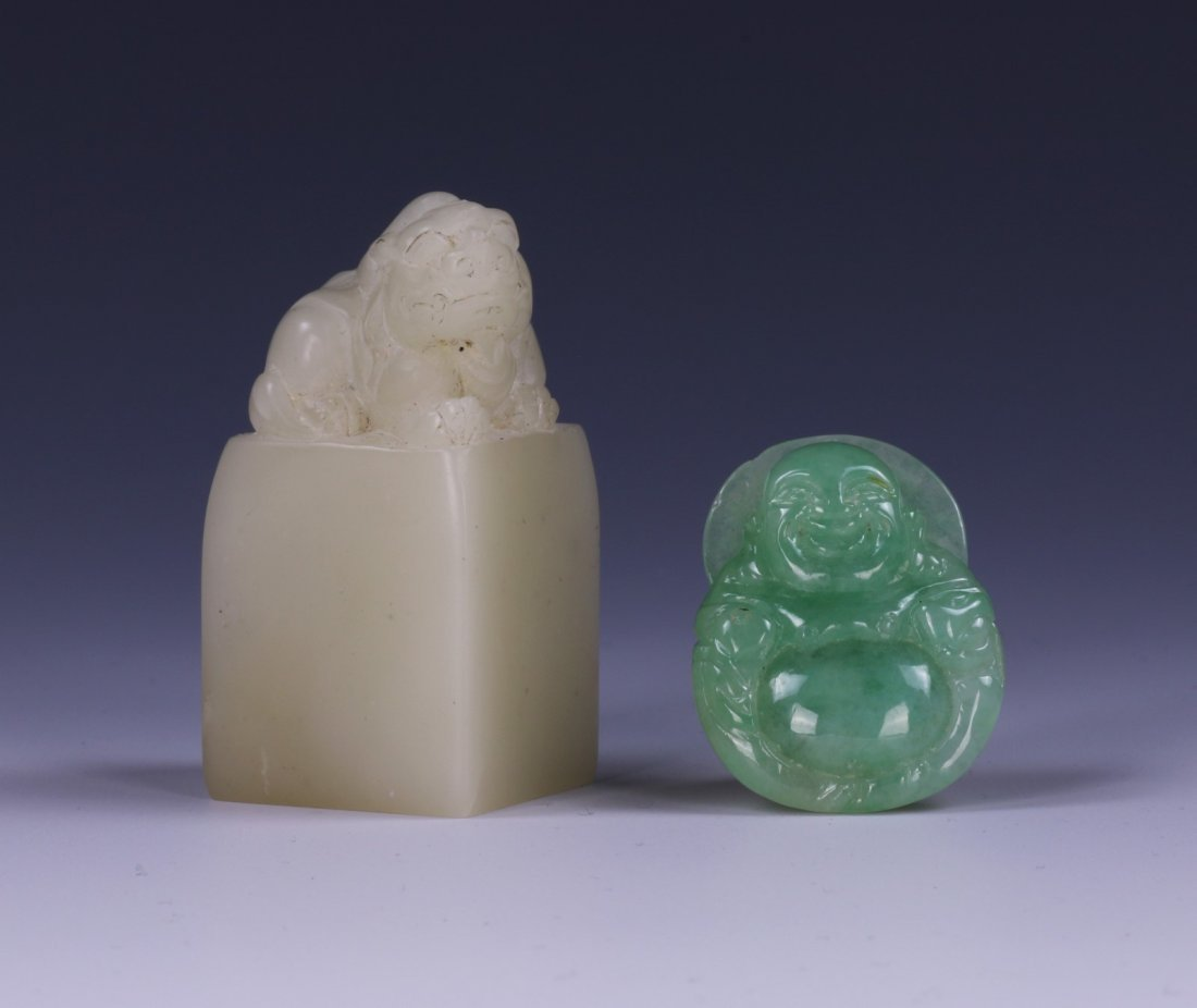 TWO (2) JADE CARVED PENDANT & SOAPSTONE SEAL