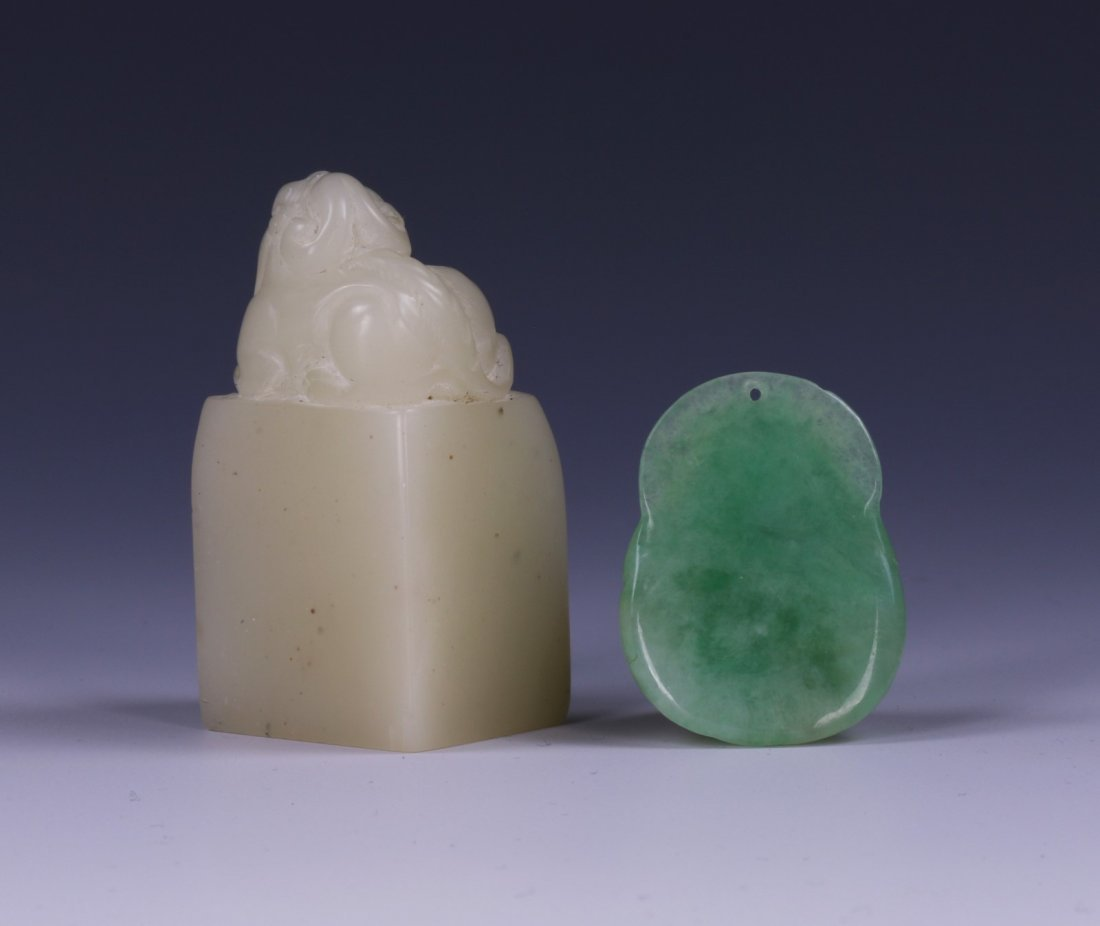 TWO (2) JADE CARVED PENDANT & SOAPSTONE SEAL - 2
