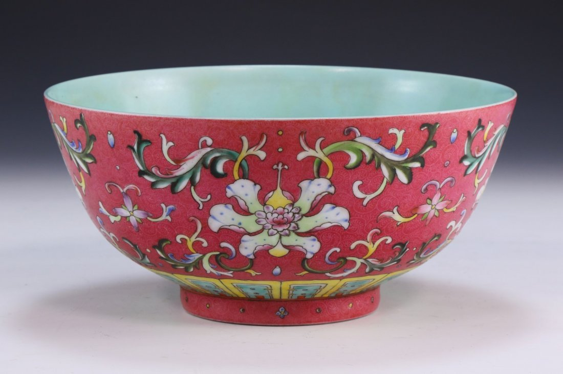A FINE AND RARE CORAL-GROUND FAMILLE ROSE FLORAL BOWL - 2