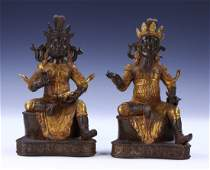 TWO CHINESE ANTIQUE GILT BRONZE BUDDHAS