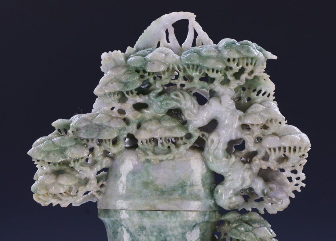 A FINE & BIG JADEITE CARVED VASE - 4