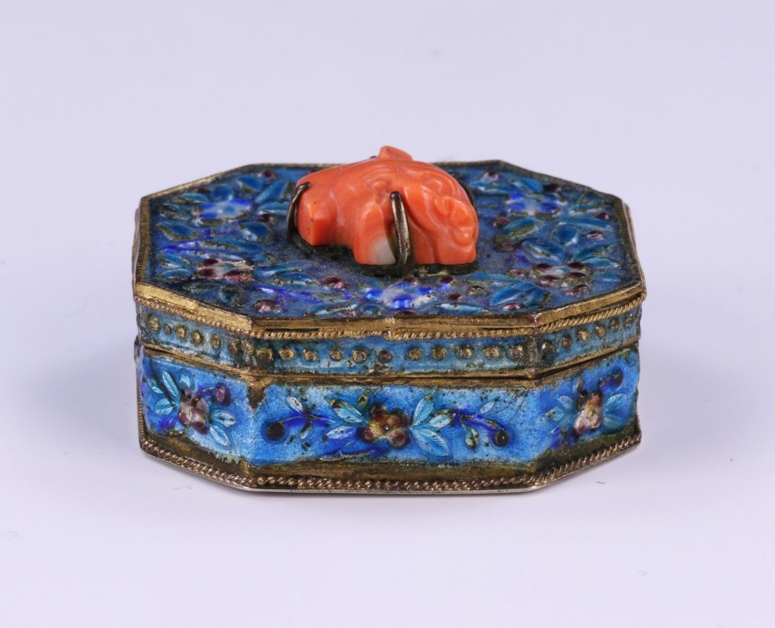 A CHINESE ANTIQUE CORAL & CLOISONNE ON SILVER JEWELRY
