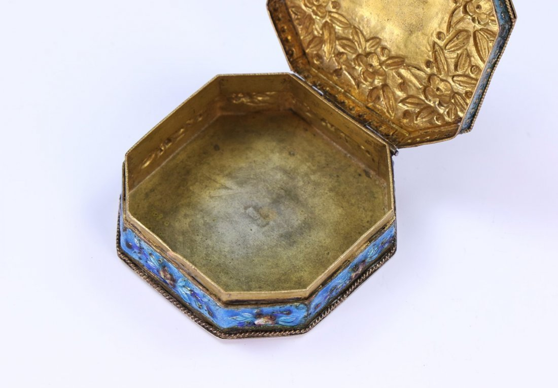 A CHINESE ANTIQUE CORAL & CLOISONNE ON SILVER JEWELRY - 7
