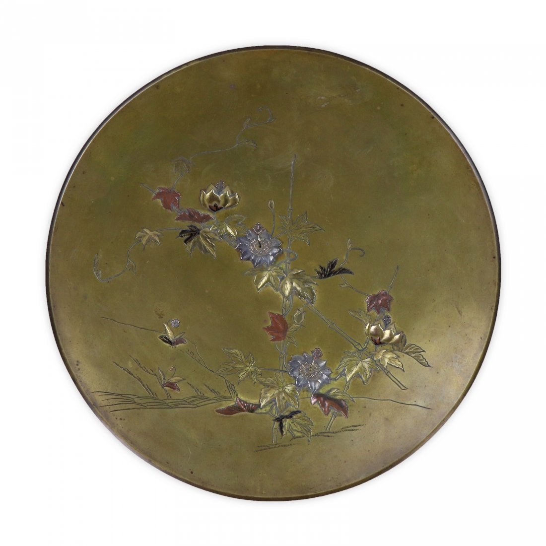 A JAPANESE ANTIQUE GOLD & SILVER INLAID SHALLOW DISH