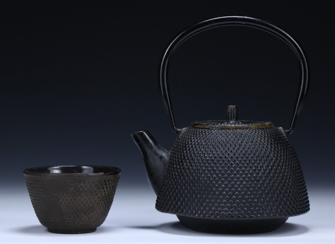 TWO (2) JAPANESE ANTIQUE IRON TEAPOT & CUP