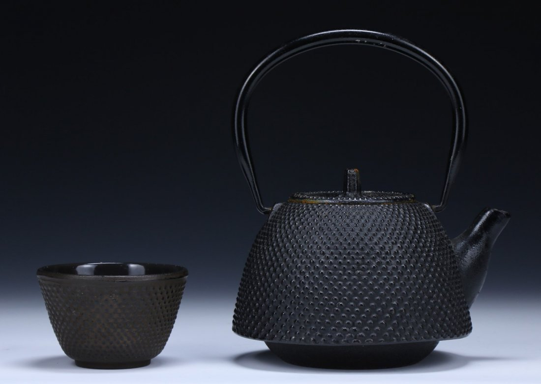 TWO (2) JAPANESE ANTIQUE IRON TEAPOT & CUP - 2