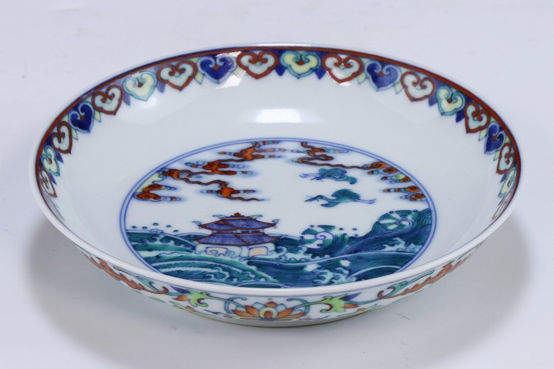 A CHINESE ANTIQUE DOUCAI PORCELAIN SAUCER - 2