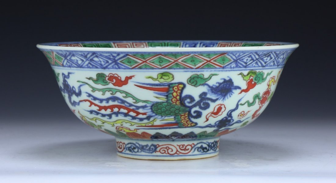 A FINE WUCAI 'DRAGON AND PHOENIX' BOWL - 2