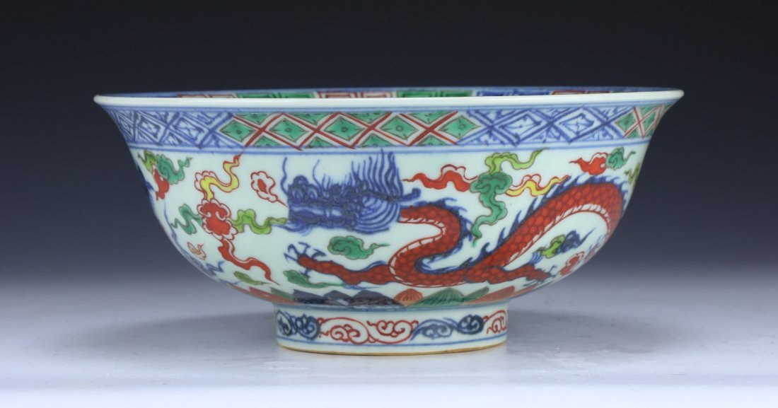 A FINE WUCAI 'DRAGON AND PHOENIX' BOWL - 3
