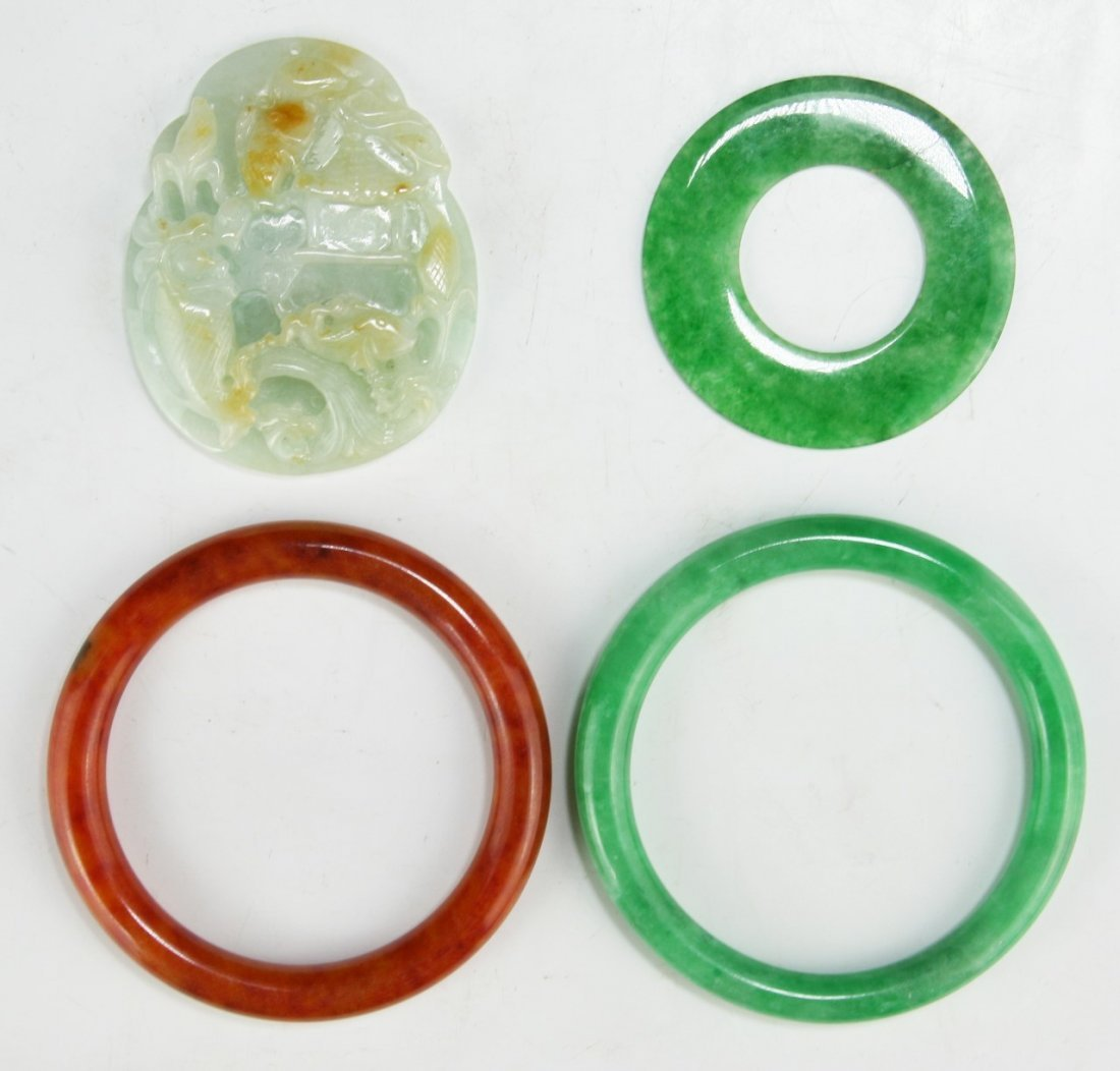 FOUR (4) JADEITE OR STONE CARVINGS & BANGLES