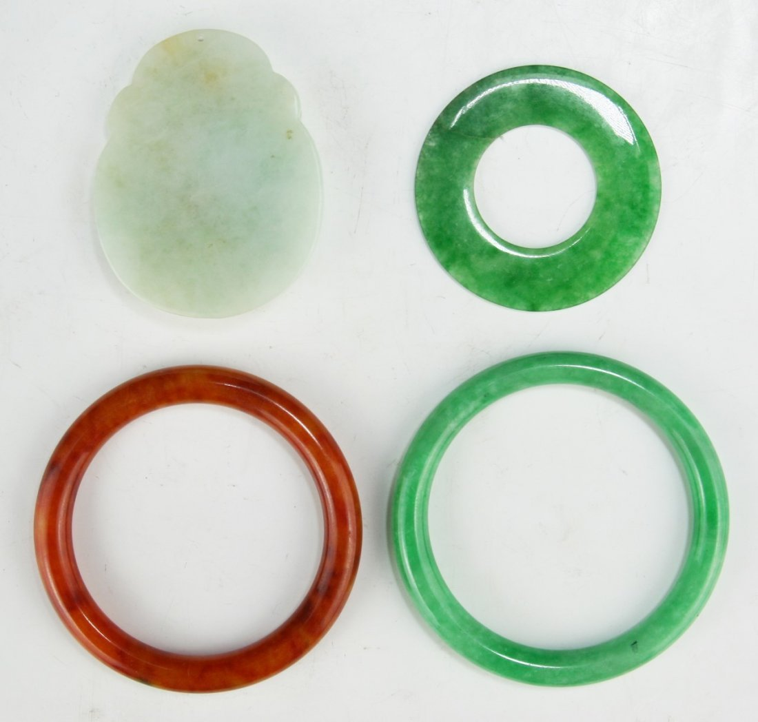 FOUR (4) JADEITE OR STONE CARVINGS & BANGLES - 2