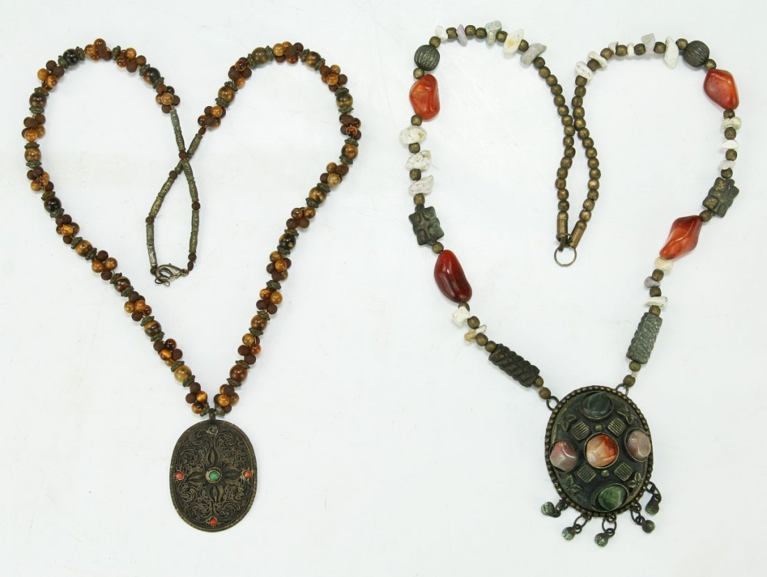 TWO (2) TIBETAN JEWELED NECKLACES