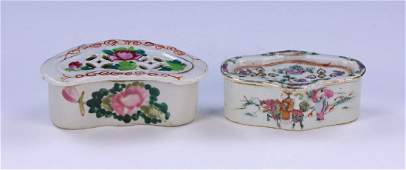 TWO (2) CHINESE ANTIQUE FAMILLE ROSE PORCELAIN CRICKET