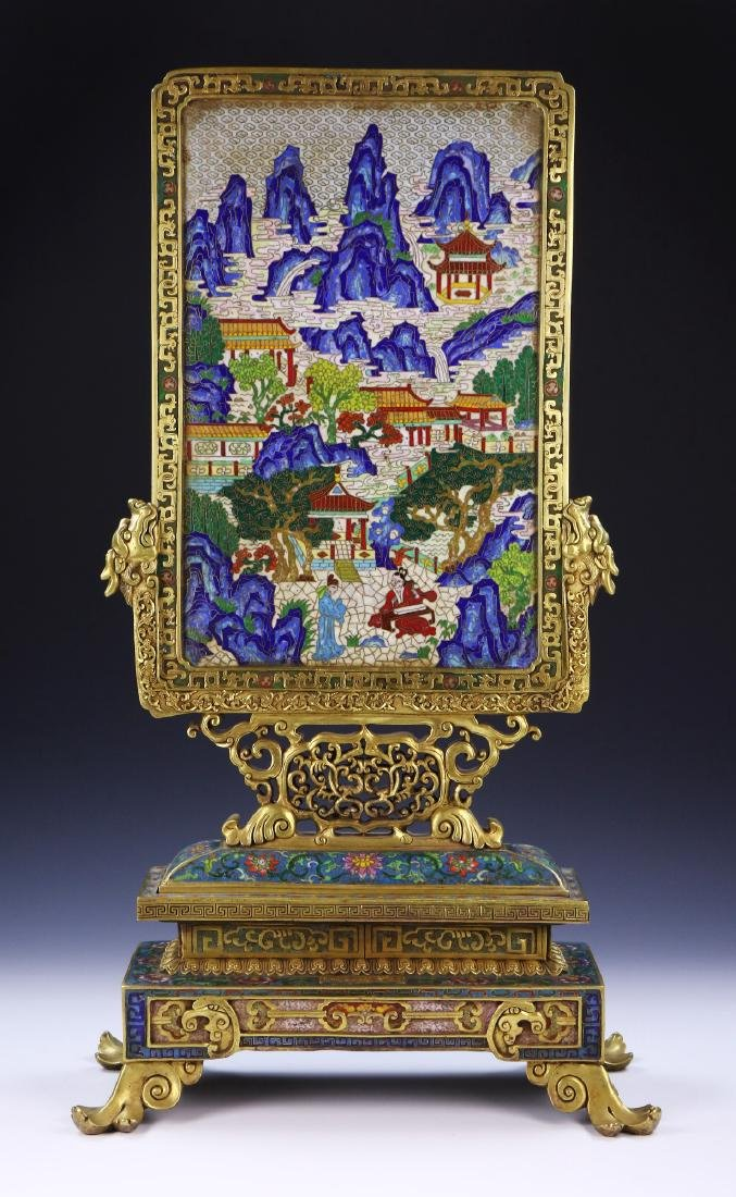 A MAGNIFICENT CHINESE ANTIQUE CLOISONNE TABLE SCREEN