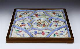 A CHINESE ANTIQUE FAMILLE ROSE PORCELAIN MEAT TRAY SET