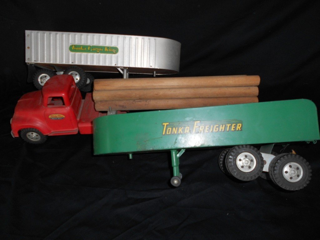 1108: Four Piece Tonka Toys Construction Trucks Cab and
