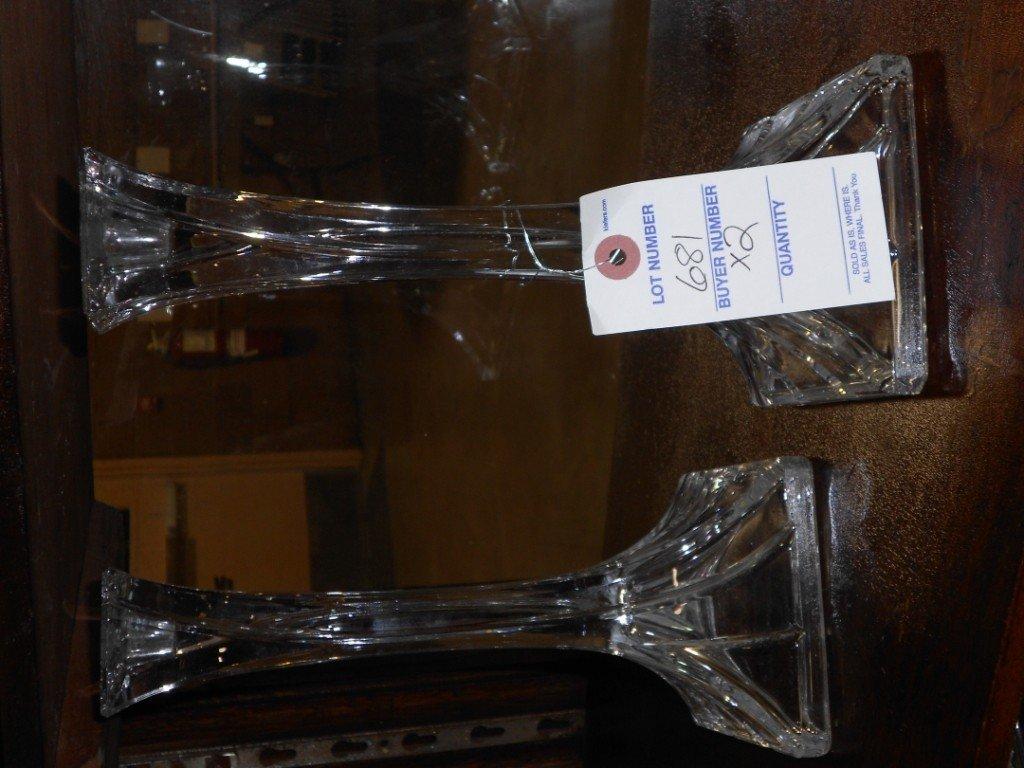 681: Pair of Crystal Candlesticks each measure 8 1/2 in
