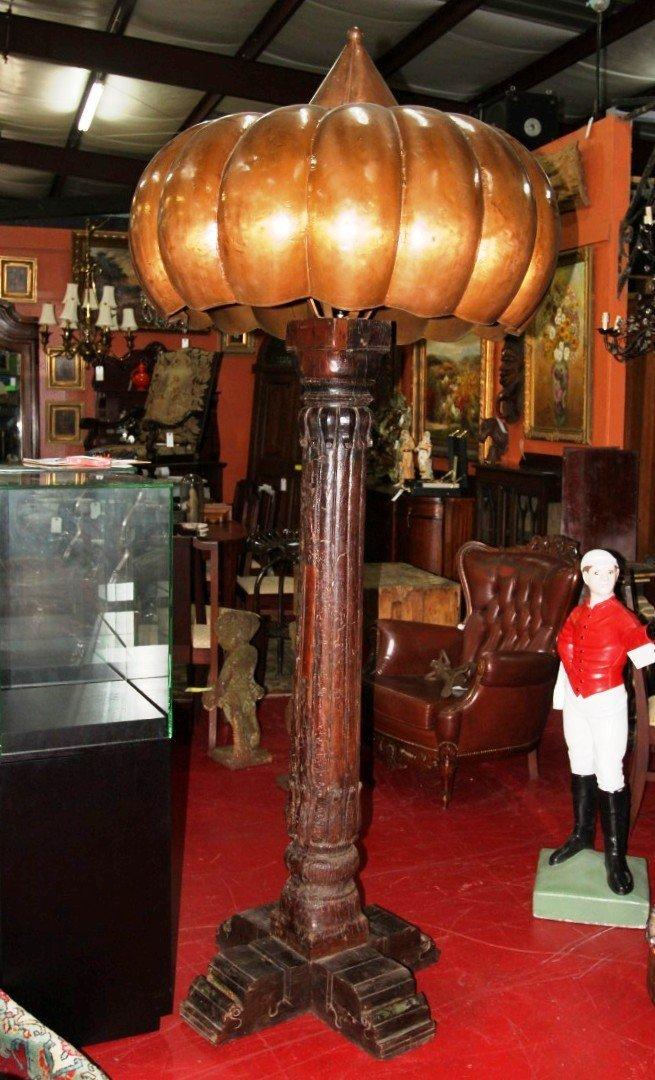 Handcarved CA1890 Wood/Hand Stamped Copper Floor Lamps