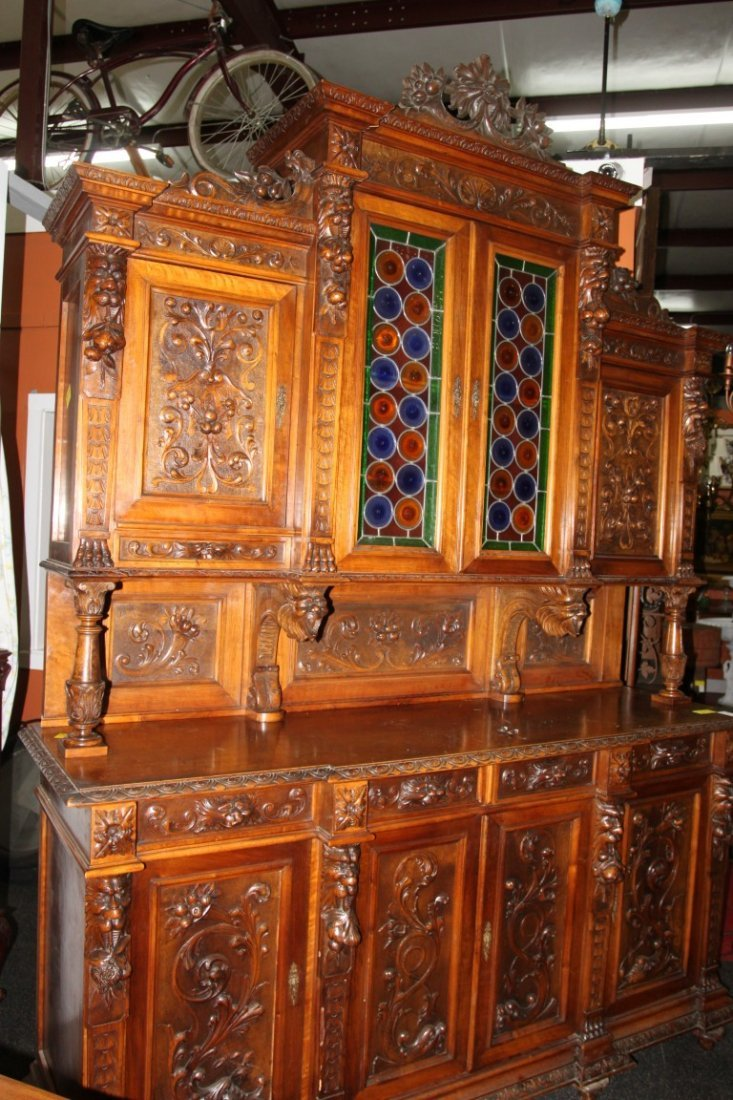 Heavily Carved French Court Cupboard w/Stained Glass