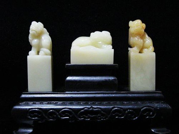 3: A Chinese Set of Three Soapstone Seals