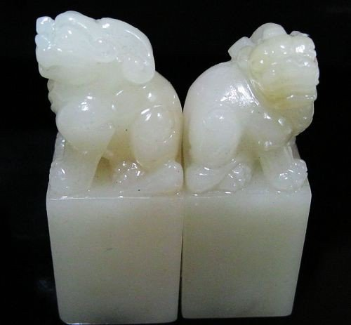6: A ChineseSet of Five Soapstone Seals - 4