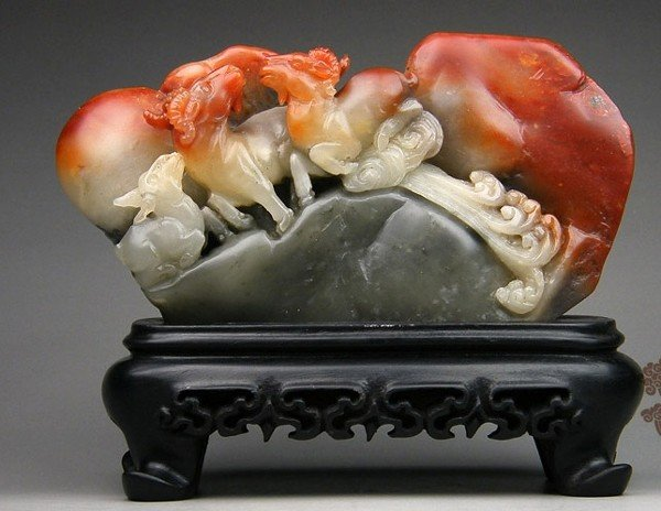 11: A large Chinese Fine Soapstone Sheep Carving