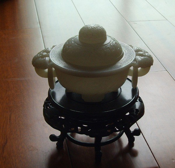 107: A Chinese large, Excellent White Jade Burner ,Qing