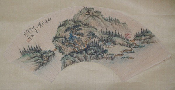 19: A Chinese Fan Painting , Artist Signed , size: 45 X