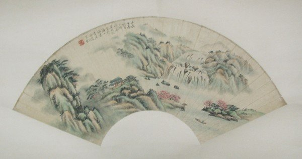20: A Chinese Fan Painting , Artist Signed , size: 45 X