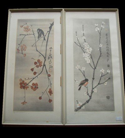 22: A Pair of Chinese Woodblook Prints From Rong Bao Zh