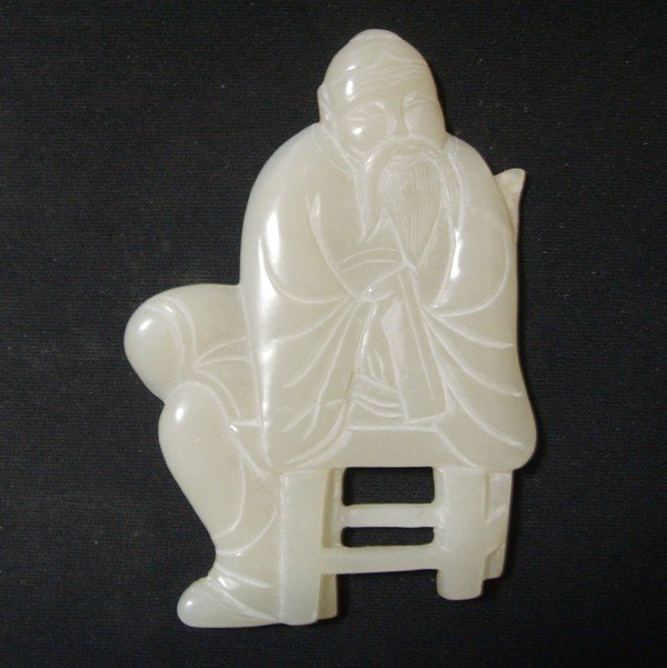 21: A Chinese White jade Figure ,Qing Dynasty ,size: 6