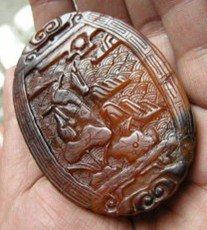 136: A Precious Antique Rhino Carving Plaque , size: 7.
