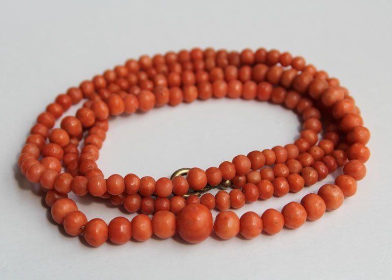 64: An Old Natural Red Coral Beads Necklace
