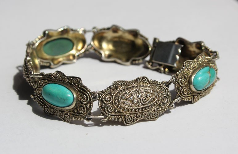 69: An Old Natural Turquoise 835 Gilt Silver Bracelet