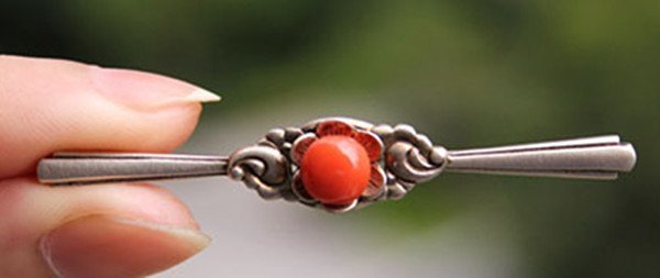 8: A 835 Silver Red Coral Bead Brooch