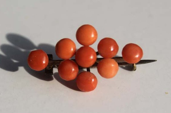 12: A Vintage 800 Silver Gilt Red Coral Bead Brooch