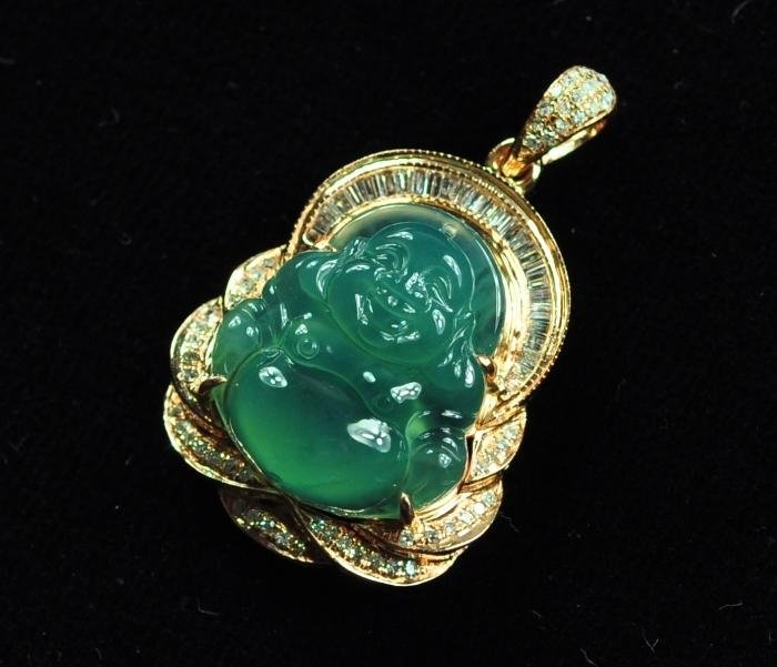 55: A 18K Icy Natural Jadeite Buddha Pendant with Diamo