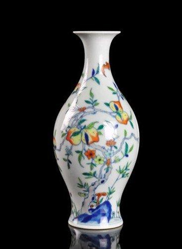 A Famille Rose Olive Vase