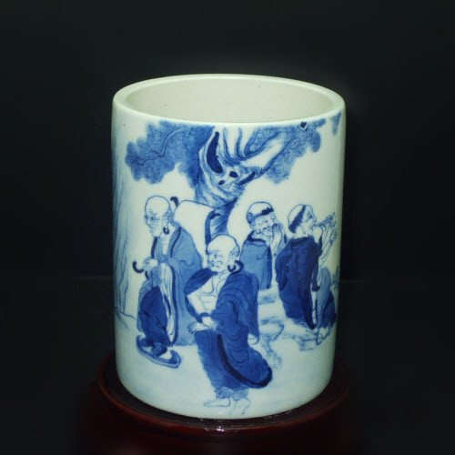 Fine Chinese Blue & White Brush Pot